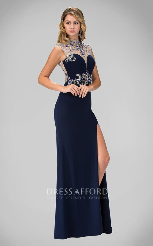 Column Split Front Jeweled High-Neck Sleeveless Keyhole Jersey Dress
