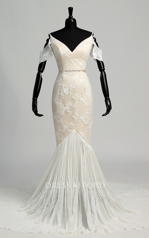 Off-the-shoulder Short Sleeve Natural Bandage Pleats Ruffles Wedding Dress