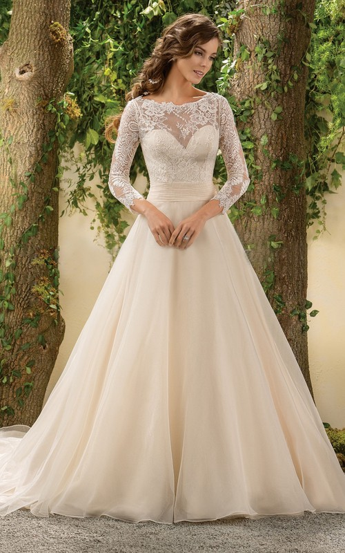 Long Sleeve A-line Lace Wedding Dress With Low-V Back And Court Train