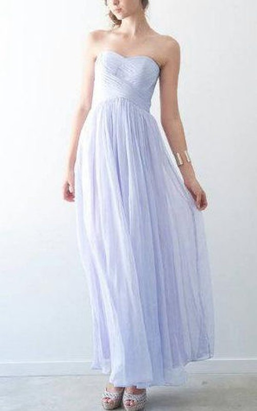 Sweetheart Criss Cross Pleated Ankle-Length Dress