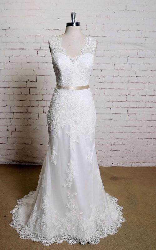 Lace Satin Sash Bridal Sleeveless V-Neckline Mermaid Dress
