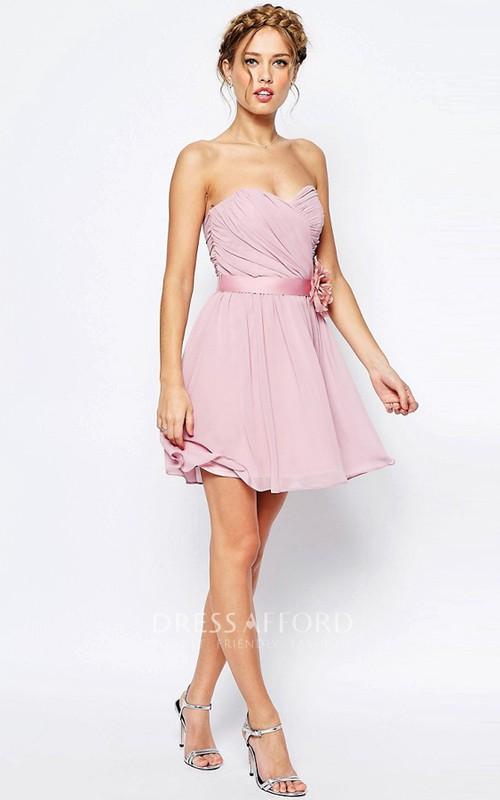 Short Criss-Cross Sweetheart Sleeveless Chiffon Bridesmaid Dress
