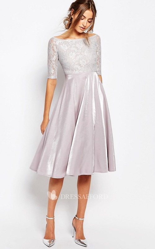 Bateau Half Sleeve A-line Knee-length Dress With Lace Illusion top