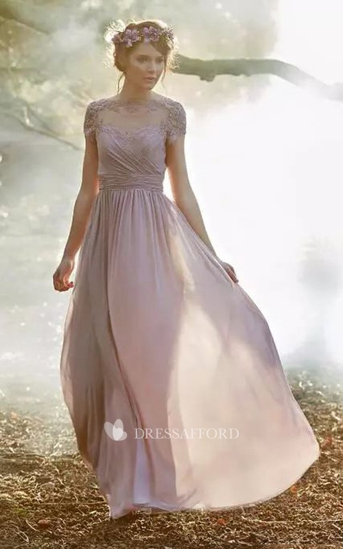 A-line Short Sleeve Floor-length Jewel Chiffon Bridesmaid Dress with Zipper Low-V Back