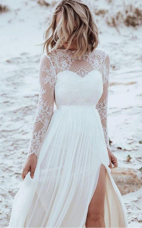 Sexy Bateau A Line Tulle Lace Floor-length Backless Wedding Dress with Split Front and Pleats