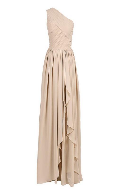 Chiffon Asymmetrical Hem Ruched Single-Shoulder Gown